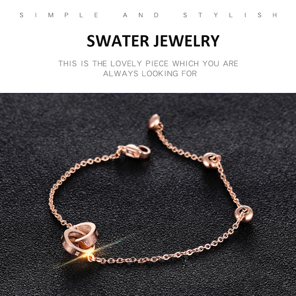 Wholesale Jewelry Rose Gold Charm Link Chain Bracelets For Girls