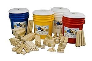 "Wooden Blocks ""The Big Block Bucket"" 90 Large Wooden Building Blocks for Kids in a Bright Blue Storage Bucket Childrens Toy Wood Blocks"