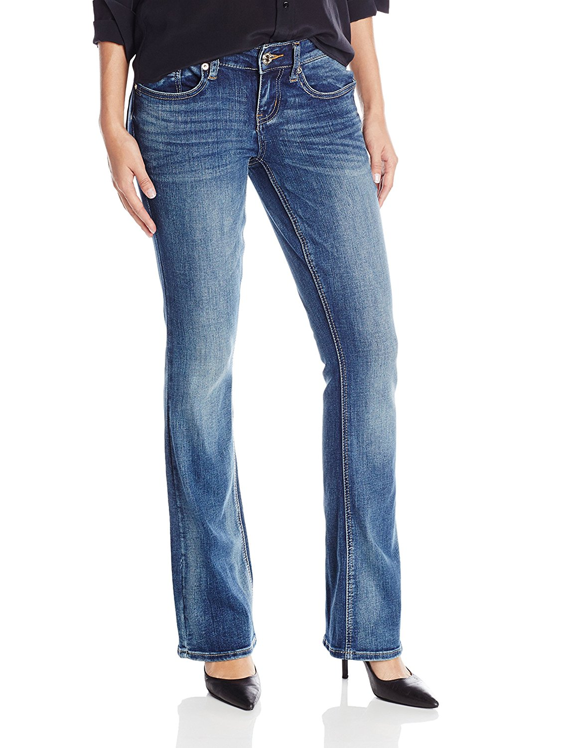 50e553acfc4 Get Quotations · Seven7 Women s Boot Cut Jean With Double Seven Back Pocket  Detail
