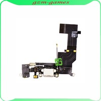 100% Original Black/White Dock Connector Charger Flex Cable Headphone Audio Jack Ribbon Charging Port For IPhone 5S