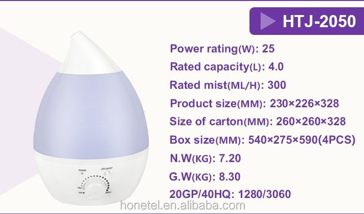 2018 Trending Product Water Drop! HTJ-2050 4L Big Capacity Ultrasonic Humidifier Aroma Diffuser Essential Oil Diffuser