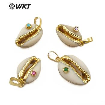 WT-JP141 Specially designed Natural Cowrie shell pendant with Half plating and multiple color beads natural Cowrie pendant