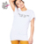 HAODUOYI Summer White T-Shirt Women Letters Print O Neck Short Sleeve Tops Casual Basic Daily Ladies T-Shirt for Wholesale