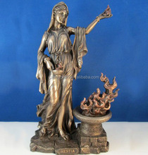 Ancient Greek Hestia goddess sculpture with holding flame