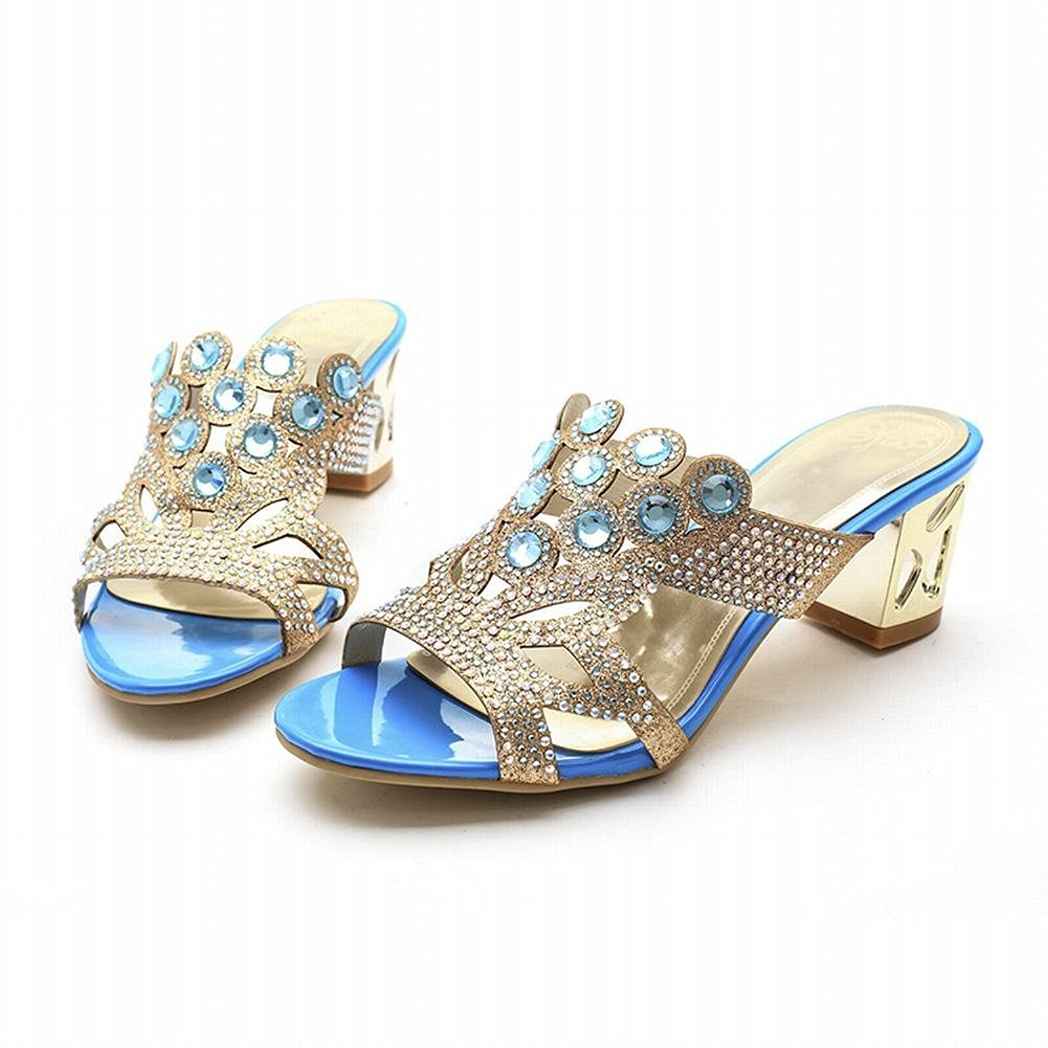 Latasa Women's Fashion Glitter Rhinestones Studded Open-toe Slides Sandals