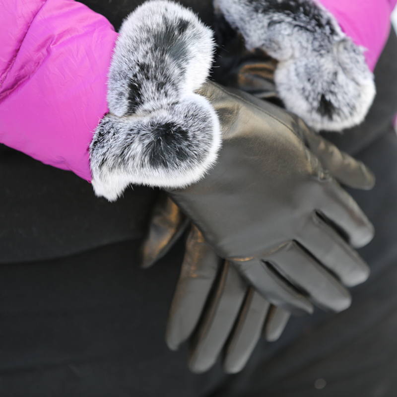 new design women gloves leather with rabbit fur