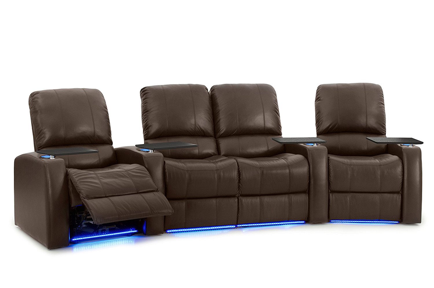 Octane Seating Octane Blaze XL900 Seats Curved with Middle Loveseat/Power Recline/Brown Premium Leather Home Theater Seating (Row of 4) Row of 4