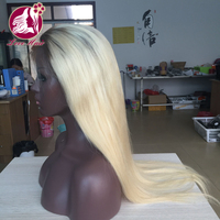 Qingdao Lovehair top grade virgin Brazilian straight 1b 613 dark roots blonde human hair lace front wig in stock