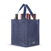 Alibaba hot sale 6 packs wine glass carrying bag, divide nonwoven tote wine bag wholesale