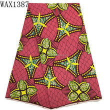 Top Quality African latest designs holland real wax fabric of Wholesale price 6 Yards cotton real wax print fabric
