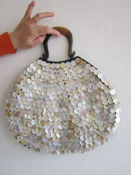 Iridescent Flashily Handbag Sparkling Seashell Bag Top With Harp Shaped Handles