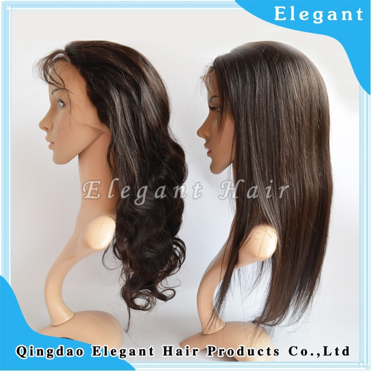 body wave / silky straight brazilian virgin hair invisiable knots elastic lace in middle full swiss lace wig
