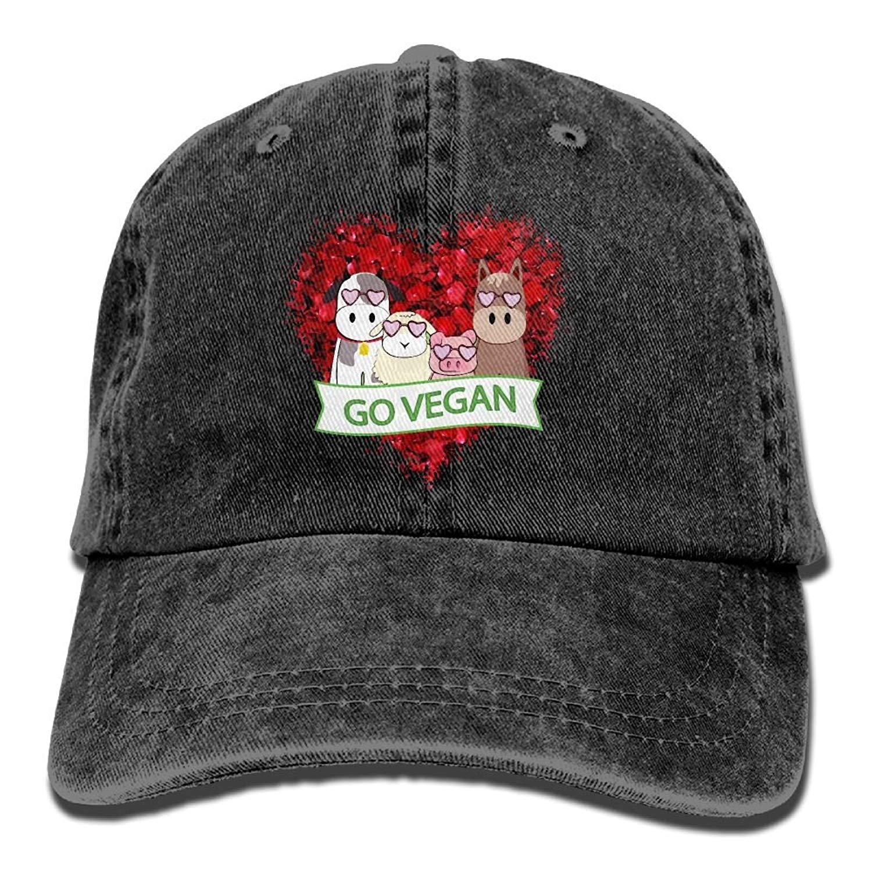 Adjustable Cowboy Style Baseball Cap Hat Go Vegan Animal Love Unisex  Vintage Washed Dyed Cotton Plain 0596654298cb