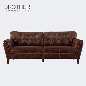 Living room luxury furniture germany style brown relax leather 3 seat sofa