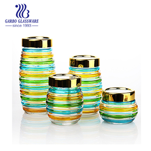 1900ml to 400ml Glass Jar for honey /Glass Storage Jar with PP Lid and color spray