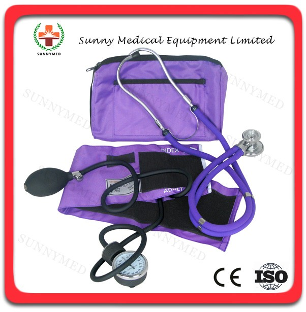 SY-G018 cheapest best colored Aneroid Sphygmomanometer with Sprague pappaport stethoscope