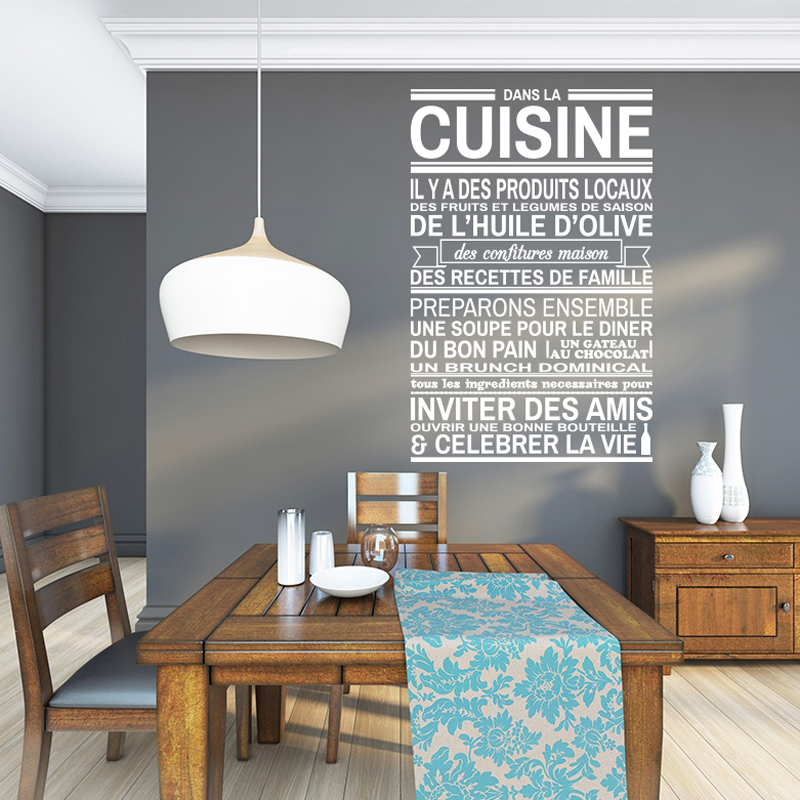 french dans la cuisine vinyl wall stickers wall decals removable wallpaper mural wall paper art. Black Bedroom Furniture Sets. Home Design Ideas