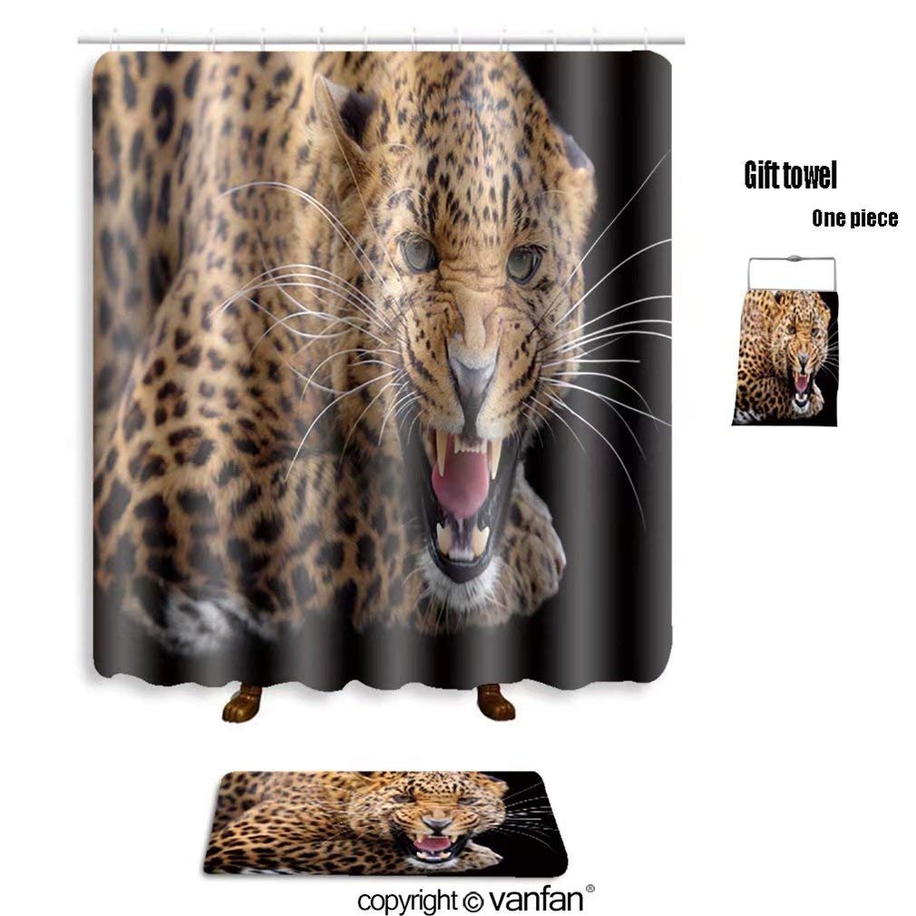 vanfan bath sets Polyester rugs shower curtain Leopard_80675647 shower curtains sets bathroom 48 x 78 inches&23.6 x 15.7 inches(Free 1 towel 12 hooks)