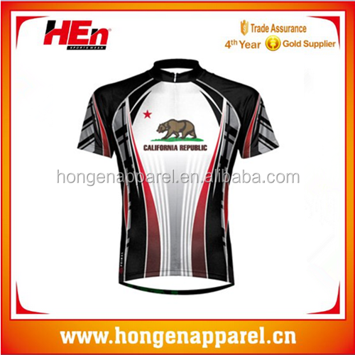 Hongen apparel New Style china Customized Cycling Jerseys with Coolmax fabric