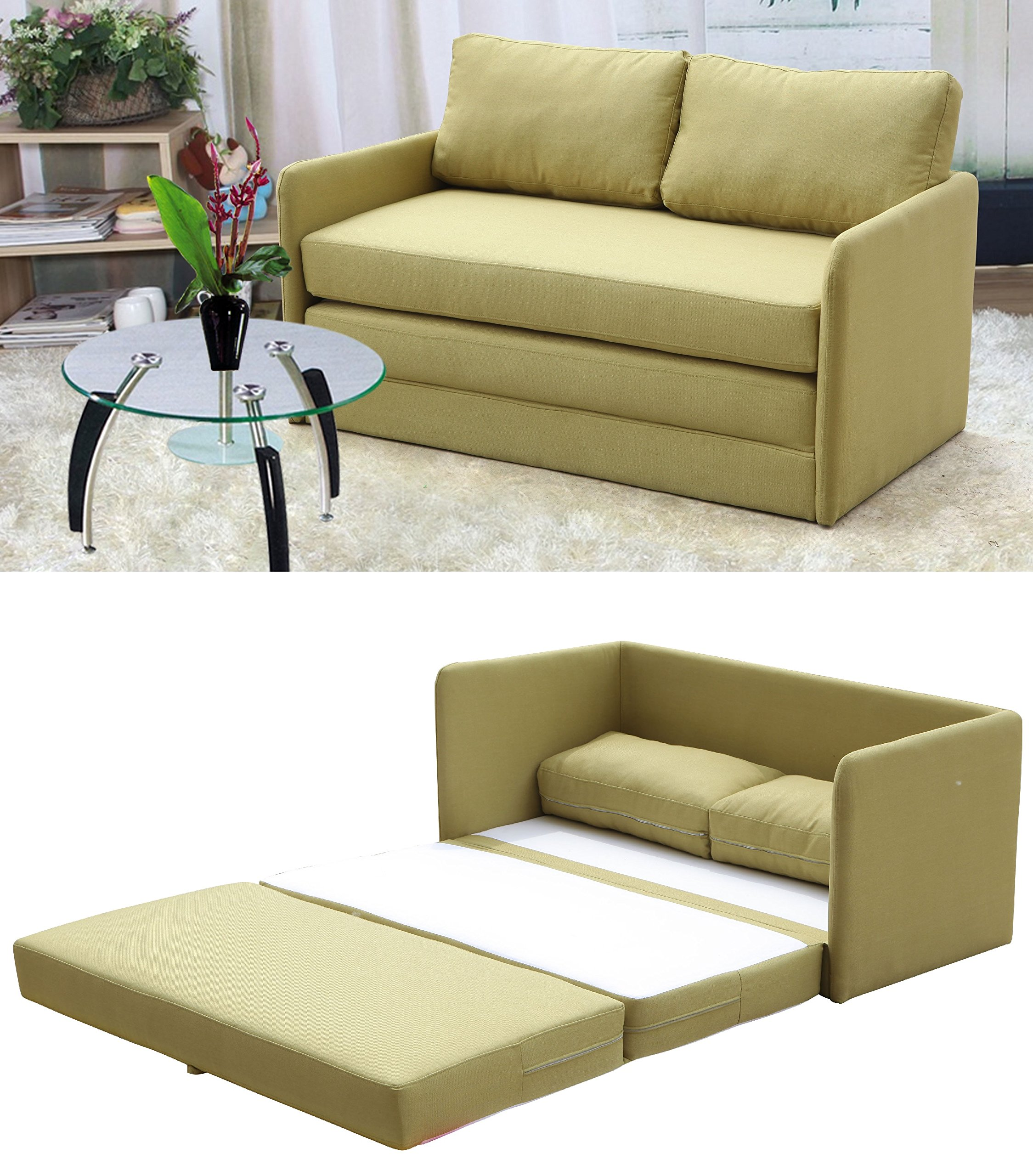 Container Furniture Direct Kathy Collection Modern Contemporary Fabric Upholstered Livingroom Loveseat Sleeper, Olive