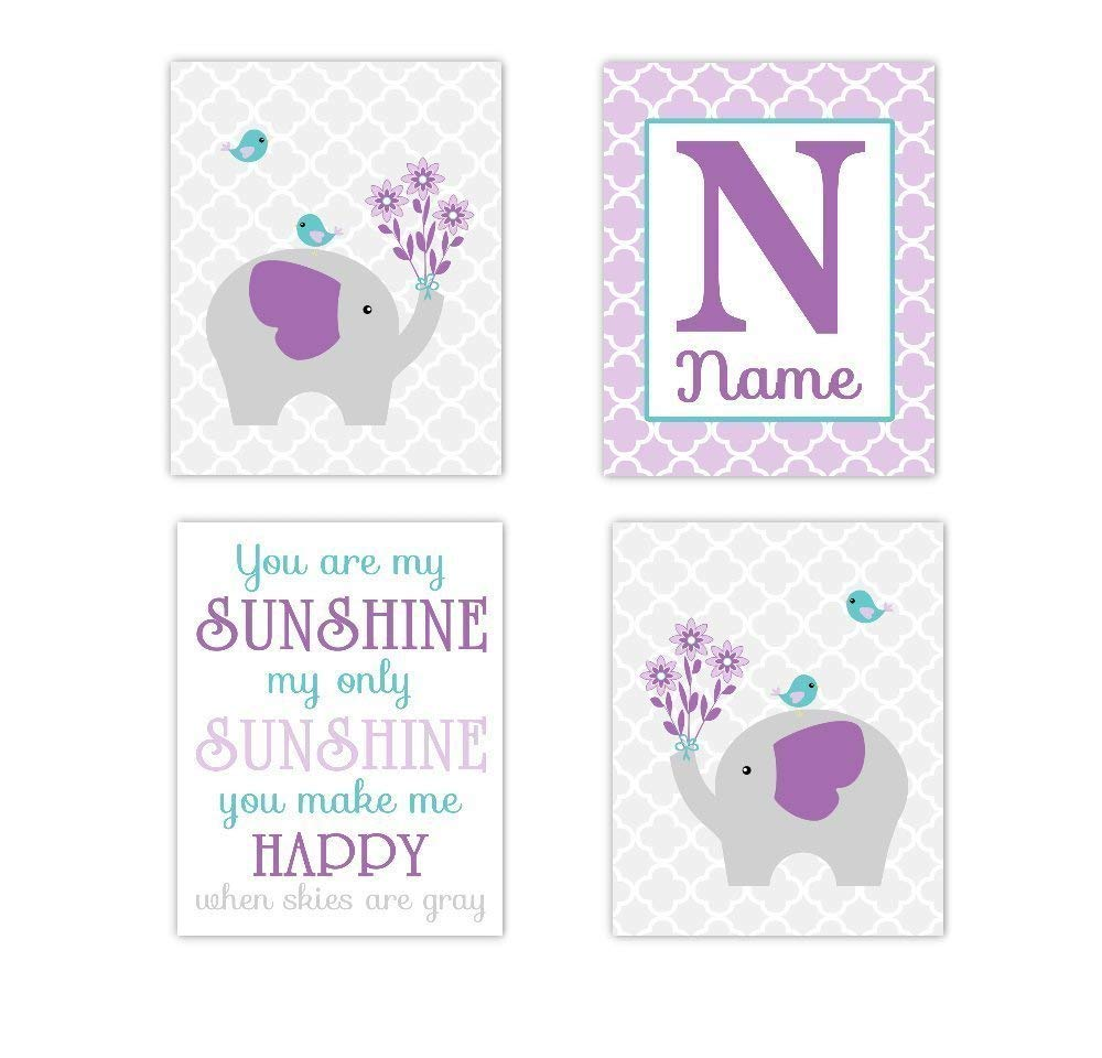 Baby Girl Nursery Wall Art Elephant You Are My Sunshine Purple Lavender Teal Aqua Personalized Name Art Baby Nursery Decor Girl Room Print SET OF 4 UNFRAMED PRINTS
