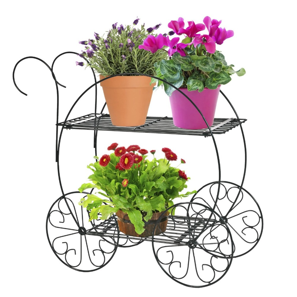 Outdoor And Indoor Trolley Design 2 Tiers Metal Flower Pot Stand