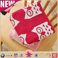 Manufacturer! Eco-friendly plush blanket, customized baby design animal pattern yarn dyed 100% cotton knitted blanket.