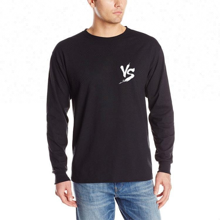 Wholesale custom printed long sleeve rounded hem 100% cotton tshirt men