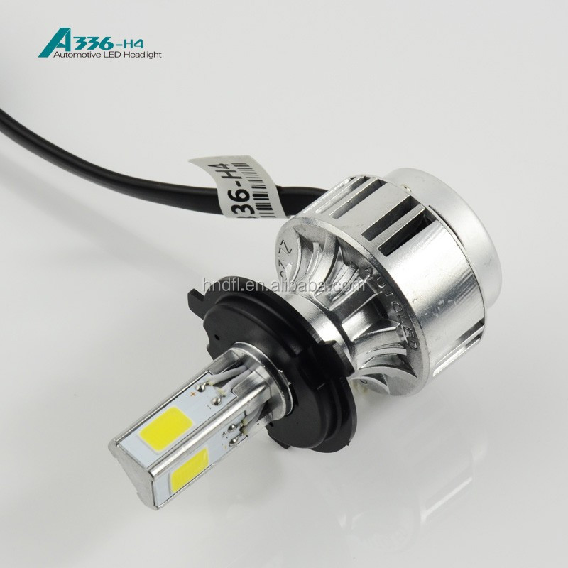 H4 COB LED headlight A336 auto LED bulb 36W 3300LM car headlight CE.ROSH,DOT approved