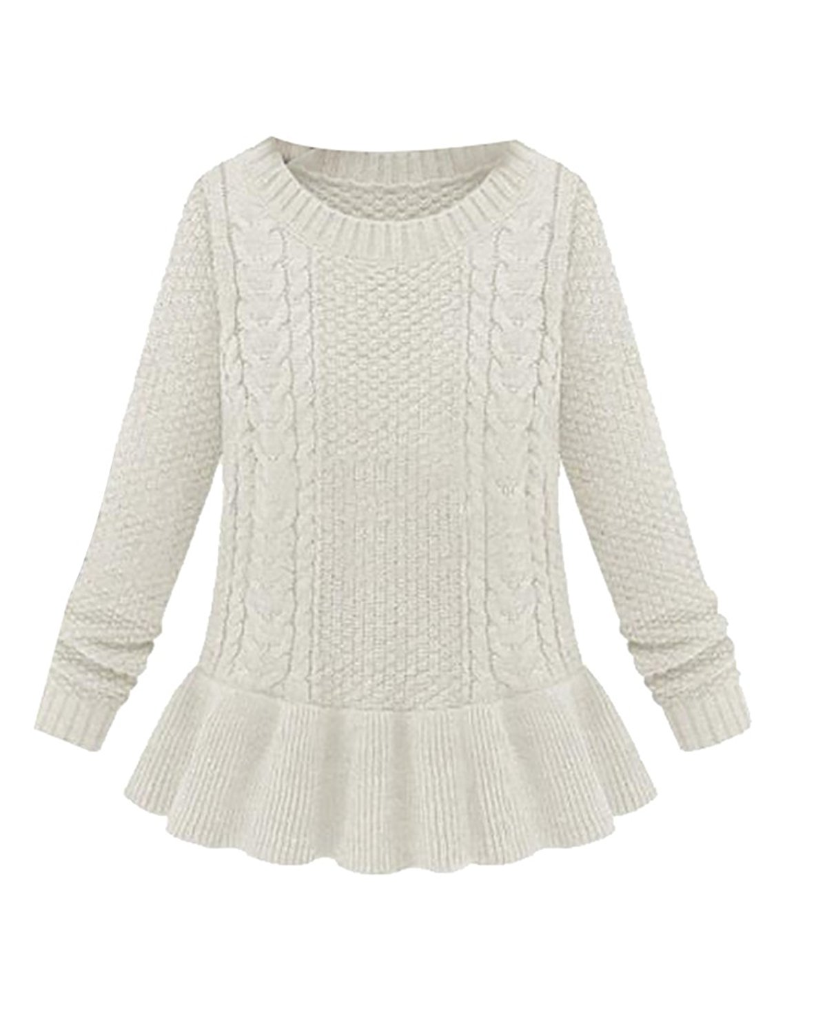 e5f4940a7b1df Get Quotations · UUYUK Womens Soft Baggy Cable Knit Round Neck Pullover  Sweater