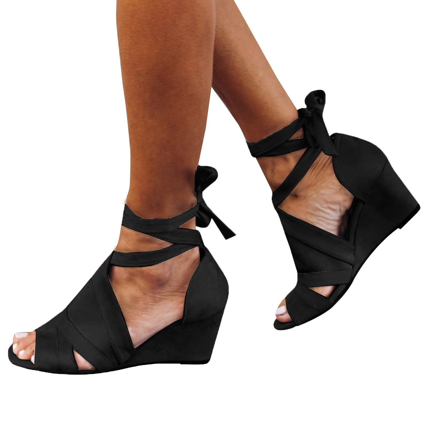 0c394d9b769 Get Quotations · Syktkmx Womens Strappy Lace up Pumps Peep Toe Ankle Wrap  High Chunky Block Heel Sandals