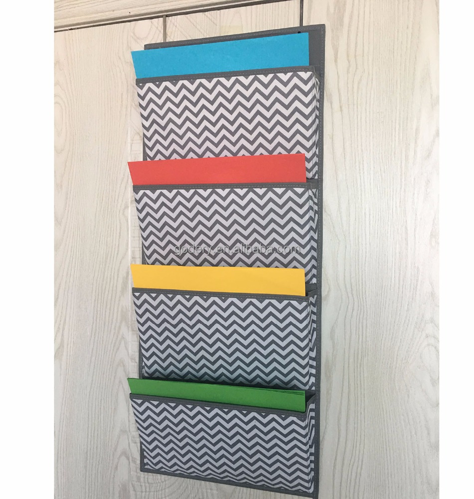 Over the Door Fabric Office Supplies Storage Organizer for Notebooks Planners File Folders - 4 Pockets, Chevron File Folder