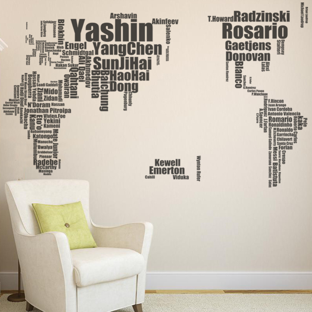 Home decor world map wall sticker football celebrity personality home decor world map wall sticker football celebrity personality design stickers for boy bedroom decoration stickers amipublicfo Image collections