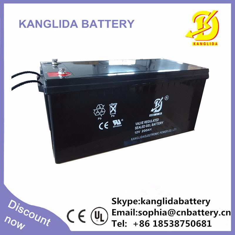 kanglida 2016 hot sell deep cycle 12v200ah solar battery battery
