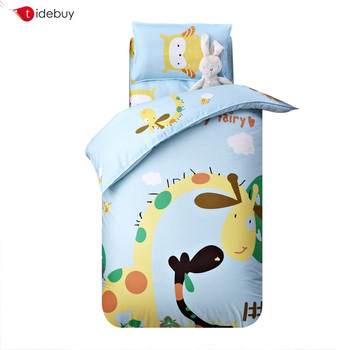 China home goods 100% cotton giraffe animal printing kids bedding set 4 pieces cartoon baby kids crib bed sheets