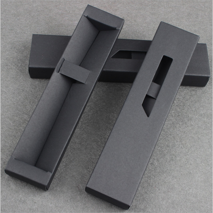 PB153 DECENT Wholesale Cheap Folding <strong>Black</strong> and White Paper Ballpoint Pen Boxes
