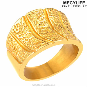 MECYLIFE New Jewelry Stainless Steel Bands 18K Gold Plated Ring