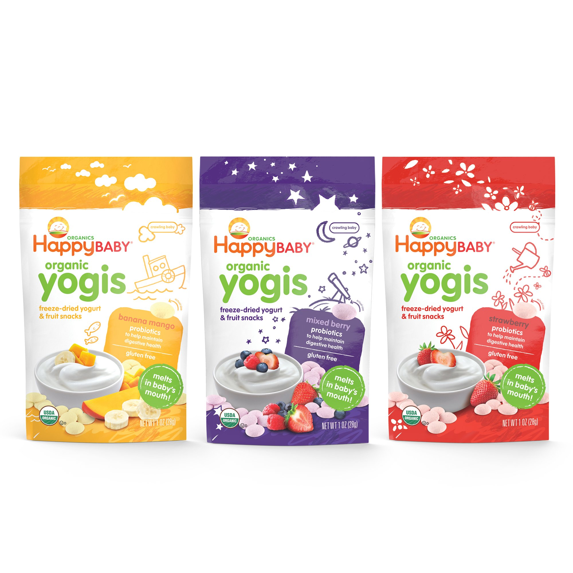 Happy Baby Organic Yogis, Freeze-Dried Yogurt and Fruit Snacks, Mixed Berry, Banana Mango, Strawberry, 1oz. (Variety Pack), Organic, Gluten-Free, Easy to Chew Probiotic Snacks for Babies and Tots