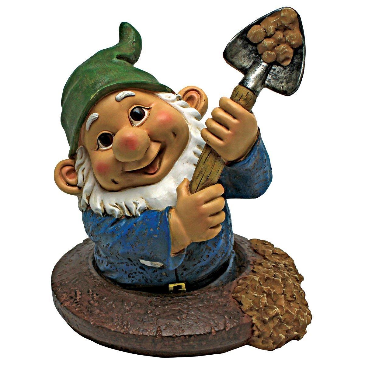 Design Toscano Garden Gnome Statue - Shoveling Sam Gnome-In-A-Hole - Outdoor Garden Gnomes - Funny Lawn Gnome Statues