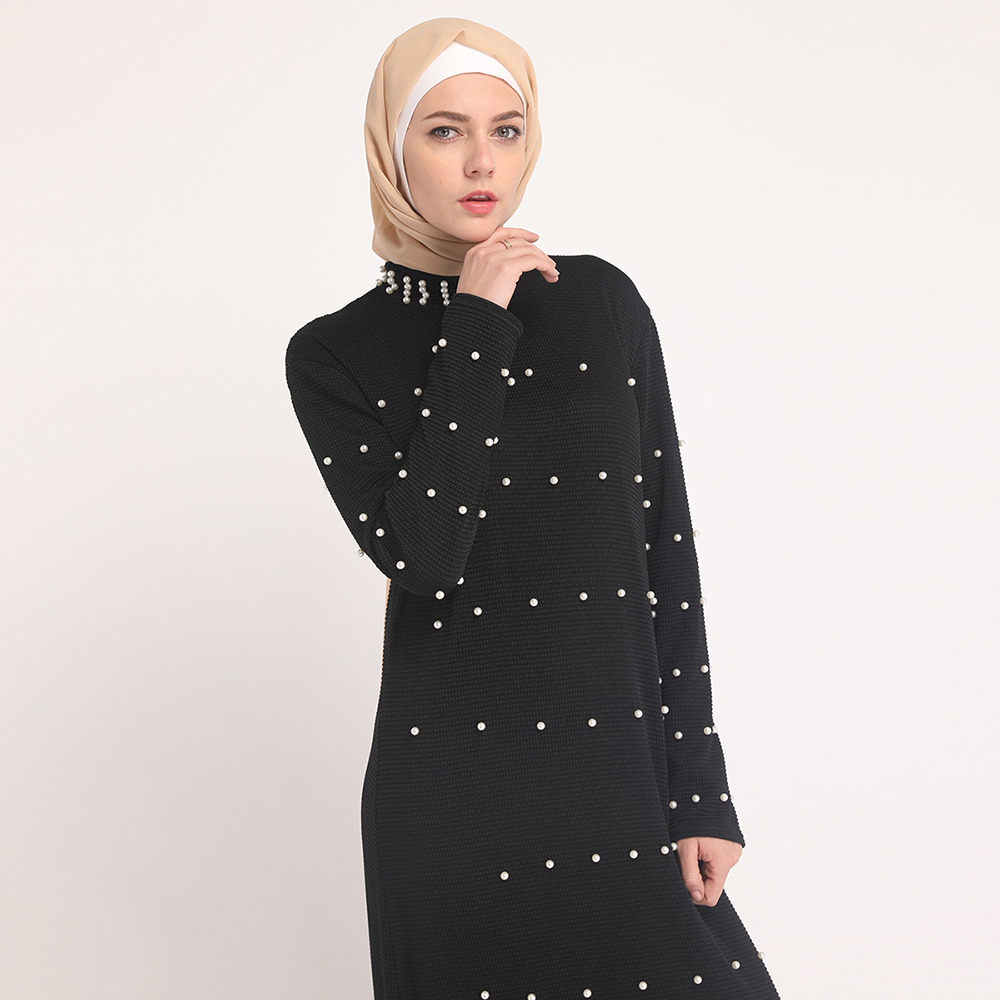 2019 new modest islamic dresses muslim women party dress knit with pearl abaya