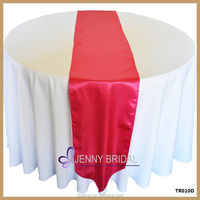 TR010D custom made bright red satin table runners wedding