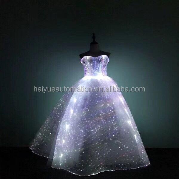 Light Up ottico Tessuto vestiti Delle Donne Del Partito di Sera Dell'abito di Sfera Banchetto frim Spettacolo Convenzionale Luminoso Fibra Ottica Abito Da Sposa