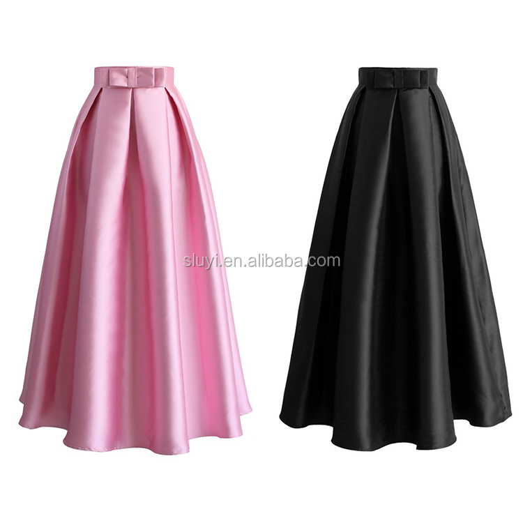 Ladies Latest Long Skirt Design 2017 New Fashion Satin Fabric Pink ...