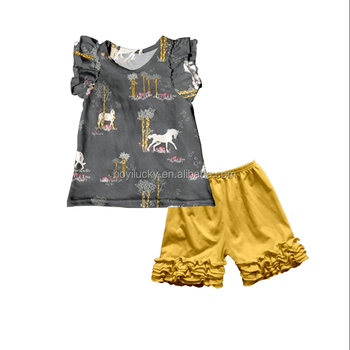 b6dc7a8125030 Bulk Wholesale Giggle Moon Remake Baby Girls Boutique Outfits Popular Horse  Print Sleeveless Top With Icing Shorts Kids Summer - Buy Giggle Moon ...
