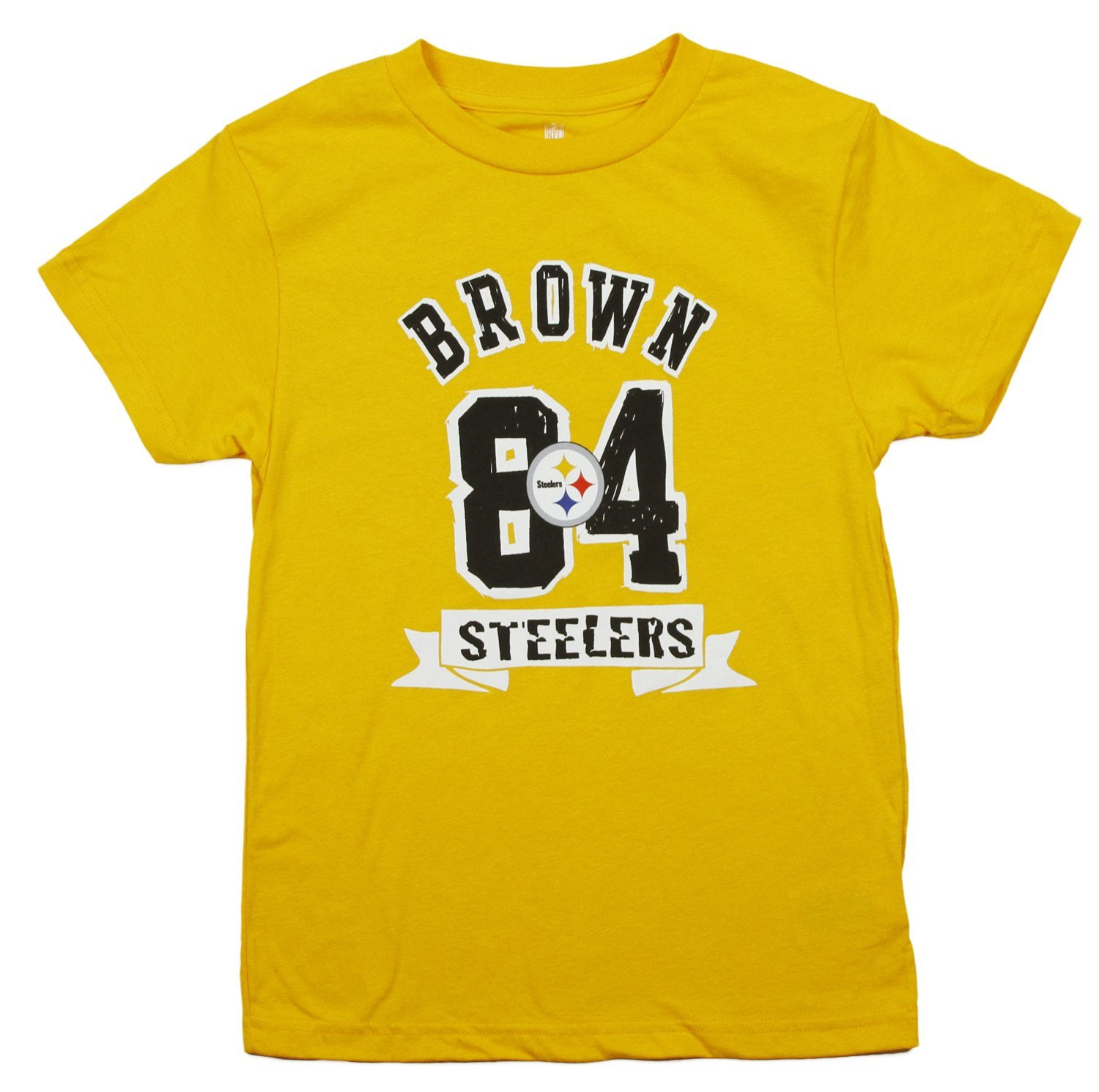 876ab328f7d Get Quotations · Pittsburgh Steelers Antonio Brown #84 NFL Big Boys Short  Sleeve T-Shirt, Gold