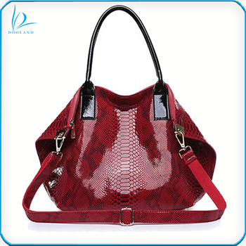 Latest slouchy design soft women red python snake animal pattern printed genuine leather handbag, tote handbag