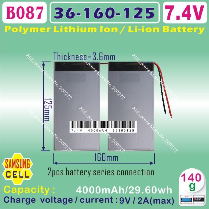 [ B087 ] 7.4 В, 8000 мАч, [ 36160125 ] полимер литий-ионный аккумулятор ( Samsungg cell ) 10.1