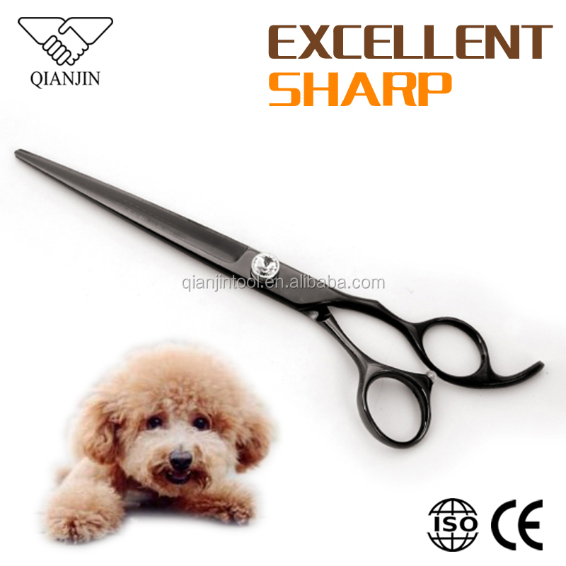 Hot Selling Black Titanium Pet Grooming Scissors 440C with Adjustable Diamond Screw System for Dog Cat Hair Cutting