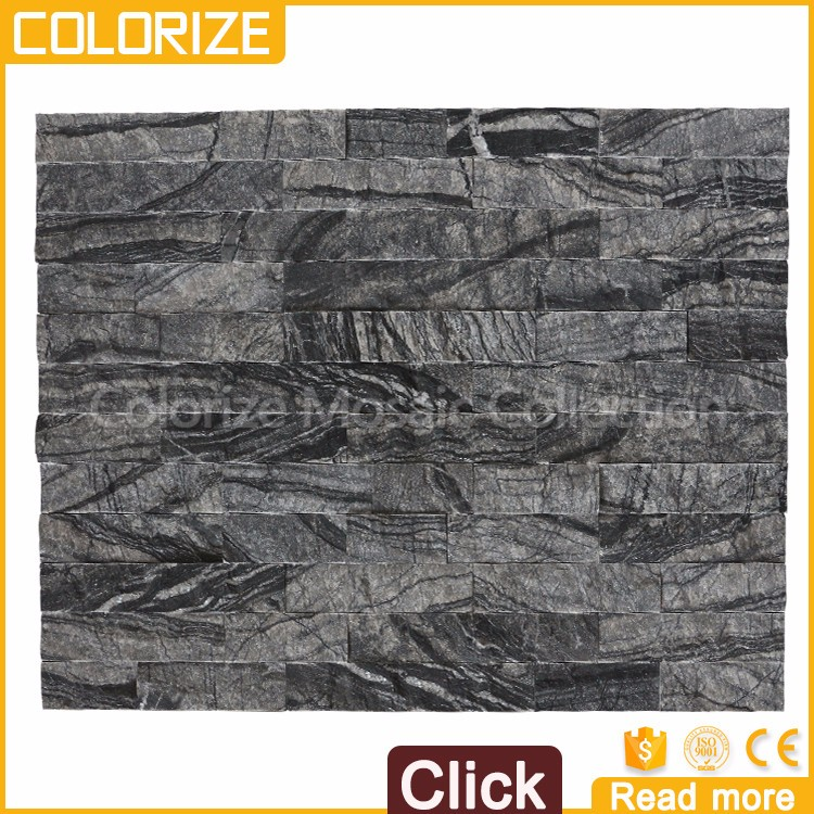 Customized Beautiful Style Natural Outdoor Black Slate Stone Wall Cladding