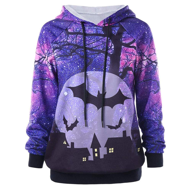 Women 2018 Halloween Hoodie Sweatshirt Cuekondy 3D Bat Printed Long Sleeve Drawstring Hooded Pullover Jumper